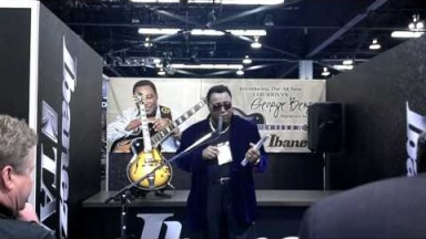George Benson unveiling his new sjgnature guitar at the 2012 NAMM show